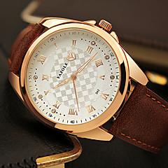 YAZOLE Men's Fashion Watch Wrist watch Quartz Imitation Diamond PU Band Cool Casual Black Brown