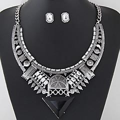 Women European Style Fashion Vintage Triangle Gem Metal Necklace Earring Set