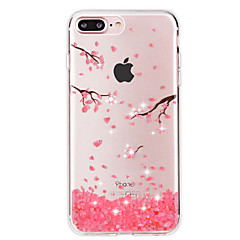 For iPhone 7 Case / iPhone 7 Plus Case Rhinestone / Transparent Case Back Cover Case Flower Soft TPU Apple iPhone 7 Plus / iPhone 7