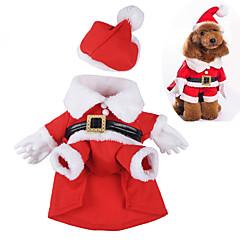 Cani Costumi Rosso Abbigliamento per cani Inverno / Primavera/Autunno Cartoni animati Divertente / Cosplay / Natale