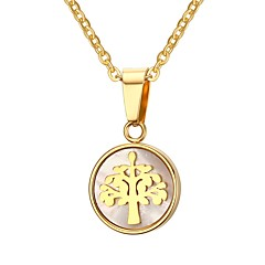 Women's Pendant Necklaces Jewelry Party/Birthday/Daily/Casual Cowry Stainless Steel Gold Plated Golden 1pc Gift