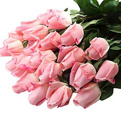 12pcs/Set 12 şube Plastik / Gerçek dokunmatik Güller Masaüstü Çiçeği Yapay Çiçekler 23.6 inch