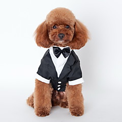 Cat / Dog Tuxedo Black Dog Clothes Winter / Spring/Fall Bowknot Cute / Wedding / Cosplay