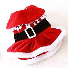 Γάτες Σκυλιά Στολές Φορέματα Ρούχα για σκύλους Χειμώνας Άνοιξη/Χειμώνας Μονόχρωμο Cute Στολές Ηρώων Χριστούγεννα Κόκκινο
