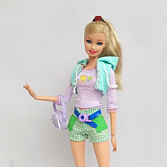 Casual Costumes For Barbie Doll Light Purple / Light Green Print Shoes / Pants / Stockings / Tops / Bag For Girl's Doll Toy