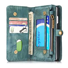 Mert Pénztárca / Kártyatartó / Ütésálló / Flip Case Teljes védelem Case Egyszínű Kemény Valódi bőr mert AppleiPhone 7 Plus / iPhone 7 /