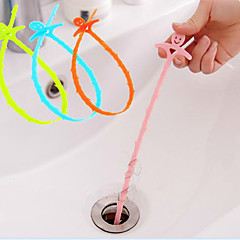 Smiling Face Sewer Hair Cleaning Device The Bathroom Sink Drain Cleaning Hook 51*0.5CM Random Color