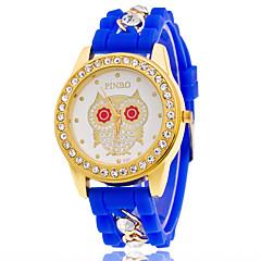 Heren Dames Uniseks Modieus horloge Polshorloge Kwarts / Silicone Band Vrijetijdsschoenen UilZwart Wit Blauw Rood Orange Bruin Roze Geel