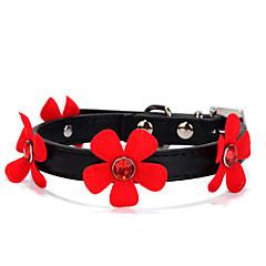 חתולים / כלבים קולרים חוזרמתכווננת מוצק / אבן נוצצת / פרח Red / Black / ורוד / ורד PU עור