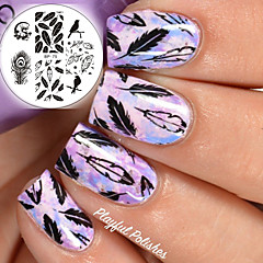 BORN PRETTY Nail Art Stamping Template Plates BP75 Birds Dragon Feather Design