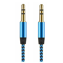 aux voitures de câble 3,5 mm vers jack 3,5 mm câble audio nylon kabel mâle or 1m mâle plaqué prise aux cordon pour voiture iphone samsung