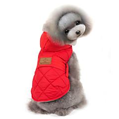 Gatos / Perros Abrigos / Chaqueta / Chaleco Rojo / Gris Ropa para Perro Invierno Un Color Mantiene abrigado / Paravientos: