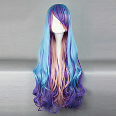 Lolita Wigs Punk Lolita Color Gradient Long Purple / Pink / Blue Lolita Wig 80 CM Cosplay Wigs Patchwork Wig For Women
