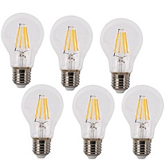 4W E26/E27 LED Filament Bulbs A60(A19) 4 COB 400 lm Warm White / Cool White Decorative / Waterproof AC 220-240 V 6 pcs