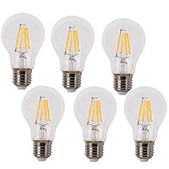 4W E26/E27 Bombillas de Filamento LED A60(A19) 4 COB 400 lm Blanco Cálido / Blanco Fresco Decorativa / Impermeable AC 100-240 V 6 piezas