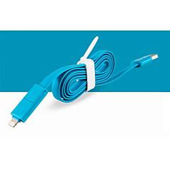 2 i 1 USB til 8 pin / MicroUSB lader synkroniseringsdata flad kabel til iphone5 / 5s / 6/6 plus / Samsung 1m 3.3ft