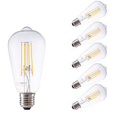4W E26/E27 Lampadine LED a incandescenza ST58 4 COB 450 lm Bianco caldo Intensità regolabile / Decorativo AC 220-240 V 6 pezzi