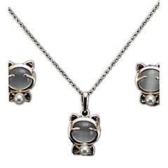 Fashion Super Cute Cat Lucky Cat Imitation Opal Earrings Necklace Set