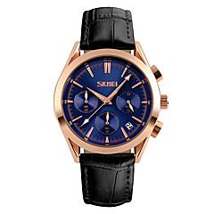 Masculino Relógio de Pulso Quartzo Calendário Cronógrafo Impermeável Cronômetro Couro Banda Legal Preta Marrom marca