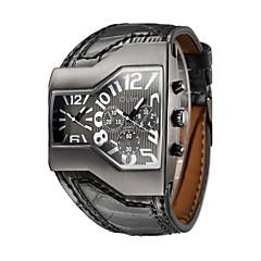 Heren Militair horloge Modieus horloge Polshorloge Kwarts Dubbele tijdzones Echt leer Band Vintage Vrijetijdsschoenen Zwart Merk