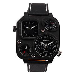 Masculino Relógio Esportivo Relógio Militar Relógio de Moda Relógio de Pulso Quartzo Dois Fusos Horários Couro Legitimo BandaVintage