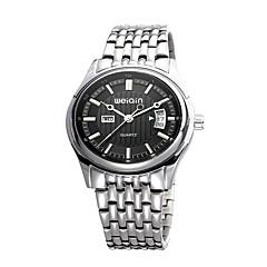 Masculino Relógio de Moda Quartzo Calendário Impermeável Aço Inoxidável Banda Prata marca