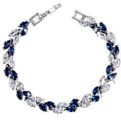 Women's Tennis Bracelet Zircon Cubic Zirconia Copper Gold Plated Fashion Leaf White Red Blue Jewelry 1pc