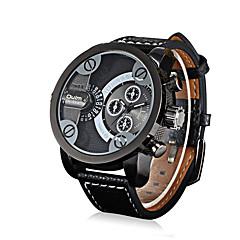 Hombre Reloj Deportivo Reloj Militar Reloj de Moda Reloj de Pulsera Cuarzo Dos Husos Horarios Cuero Auténtico Banda Cosecha Casual