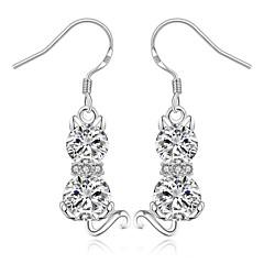 Druppel oorbellen Zirkonia Luxe Sieraden Koper Verzilverd Dierenvorm Kat Zilver Sieraden Voor Feest Dagelijks Causaal 1 paar