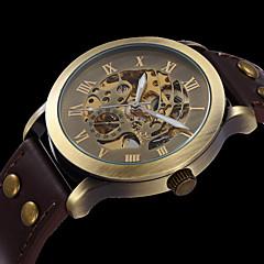 Hombre Mujer Unisex Reloj Deportivo Reloj de Moda Reloj de Pulsera El reloj mecánico Cuerda Automática Huecograbado Cuero Auténtico Banda