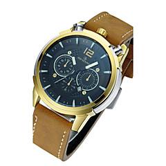 Men's Fashion Watch Quartz / Leather Band Skull Brown Brown/Gold