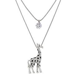 Damskie Naszyjniki z wisiorkami Animal Shape Jeleń Żyrafa Kryształ górski sztuczna Diament Stop Modny Podwójna warstwa Silver Biżuteria Na