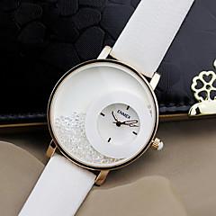 Damen Modeuhr Quartz Leder Band Schwarz Weiß Marke