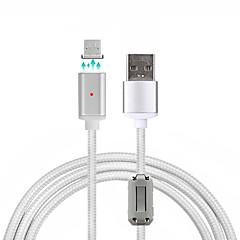 USB 2.0 Micro USB 2.0 Örgülü Manyetik Kablo Uyumluluk Samsung Huawei Sony Nokia HTC Motorola LG Lenovo Xiaomi 100 cm Naylon Aluminyum