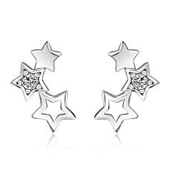 Niittikorvakorut Cubic Zirkonia Sterling-hopea Hopea Korut Varten Häät Party Päivittäin Kausaliteetti 1 pari