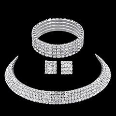 Bergkristal Kostuum juwelen Strass Legering 1 Ketting 1 Paar Oorbellen 1 Armband Voor Bruiloft Feest Causaal Giften van het Huwelijk