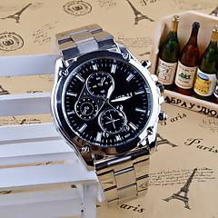 Hombre Reloj de Vestir Reloj de Moda Cuarzo Acero Inoxidable Banda Encanto Casual Plata Blanco Negro
