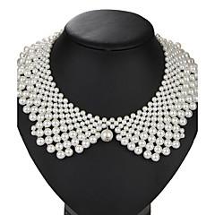 Krave Rund form Perle Imiteret Perle Legering Vintage Euro-Amerikansk Håndlavet Hvid Smykker For Fest Fødselsdag Daglig 1 Stk.