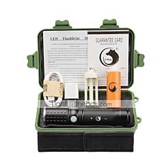 Luci Torce LED Kit per torce LED 2000 Lumens 3 Modo Cree XM-L T6 18650 AAA 26650 Messa a fuoco regolabile Ricaricabile