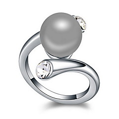 Ring Pearl Alloy Natural White Black Dark Blue Gray Bronze Jewelry Daily 1pc