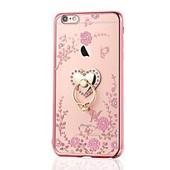 For Rhinsten Belægning Ringholder Etui Bagcover Etui Blomst Blødt TPU for AppleiPhone 7 Plus iPhone 7 iPhone 6s Plus/6 Plus iPhone 6s/6