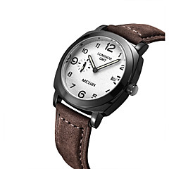 MEGIR Masculino Relógio de Moda Relógio de Pulso Quartzo Calendário Noctilucente Couro Banda Vintage MarromPreto/Marron Preto Ouro Rose