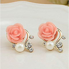 Γυναικεία Κουμπωτά Σκουλαρίκια Euramerican κοστούμι κοστουμιών Μαργαριτάρι Απομίμηση Μαργαριταριού Στρας Κράμα Flower Shape Rose Κοσμήματα