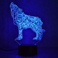 kerstmis wolf aanraking dimmen 3D LED 's nachts licht 7colorful decoratie sfeer lamp nieuwigheid verlichting kerstverlichting