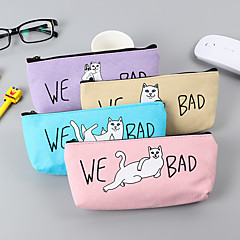 Cartton Cat Pattern Canvas Stationery Bags