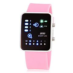 Mulheres Relógio de Moda Digital LED Silicone Banda Rosa Amarelo Rose Amarelo Rosa Rosa claro