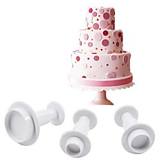 3 Pcs Round Type Cake Cutters Plunger Paste Fondant Sugar Decorating Sugarcraft Plunger Cutters  Mold