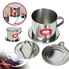 100 ml Paslanmaz Çelik Kahve Filtresi , Brew Coffee Maker Yeniden kullanılabilir Kupa Standı ile Manual