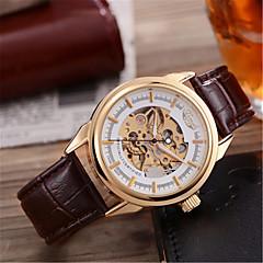 Αντρικά Διάφανο Ρολόι μηχανικό ρολόι Ιαπωνικά Αυτόματο κούρδισμα Γνήσιο δέρμα Μπάντα Καφέ