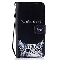 Για Θήκη καρτών Πορτοφόλι με βάση στήριξης Ανοιγόμενη Με σχέδια tok Πλήρης κάλυψη tok Γάτα Σκληρή Συνθετικό δέρμα για HuaweiHuawei P9
